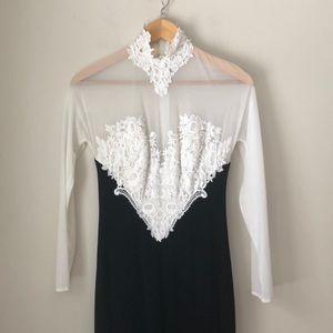 Tadashi B&W Lace Side Slit Gown